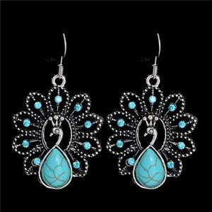 Beautiful peacock turquoise earrings